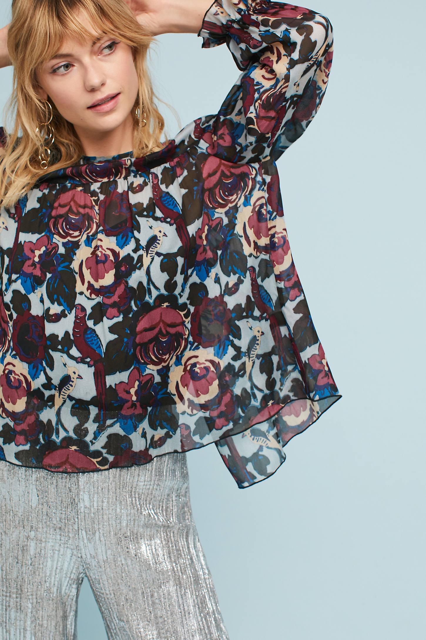 Anna Sui Floral Crepe Top