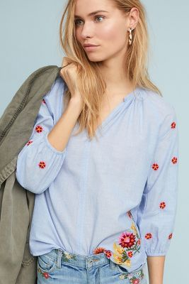 Lee Embroidered Peasant Top by Velvet By Graham & Spencer