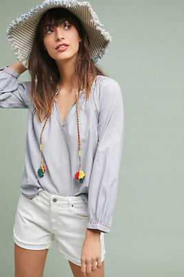 Slide View: 1: Marlene Embroidered Peasant Top