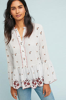 Slide View: 1: Breanna Embroidered Peasant Top