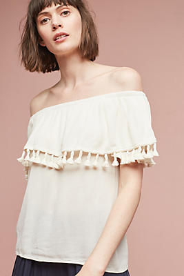 Slide View: 1: Off-The-Shoulder Tassel Top