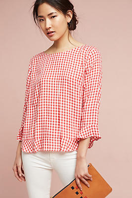 Slide View: 1: Gingham Ruffle Blouse