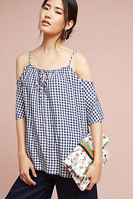 Slide View: 1: Gingham Open-Shoulder Blouse