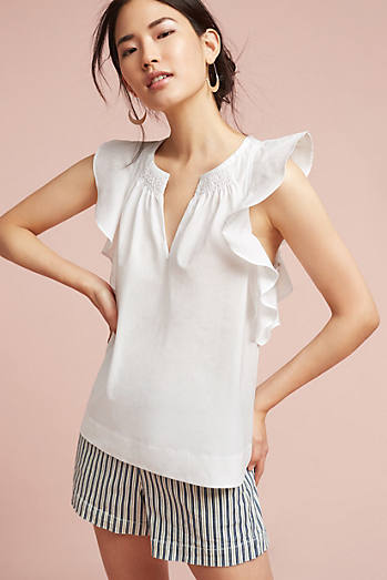 Ruffled Poplin Blouse
