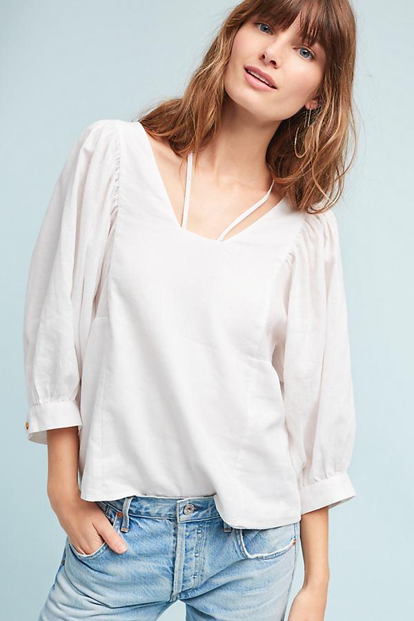 Sylvia Balloon-Sleeved Blouse - White, Size L