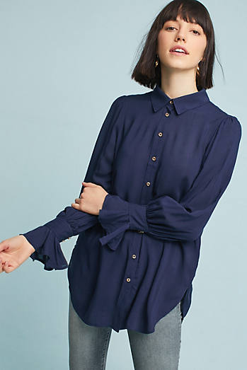 Desra Ruffled-Cuff Shirt