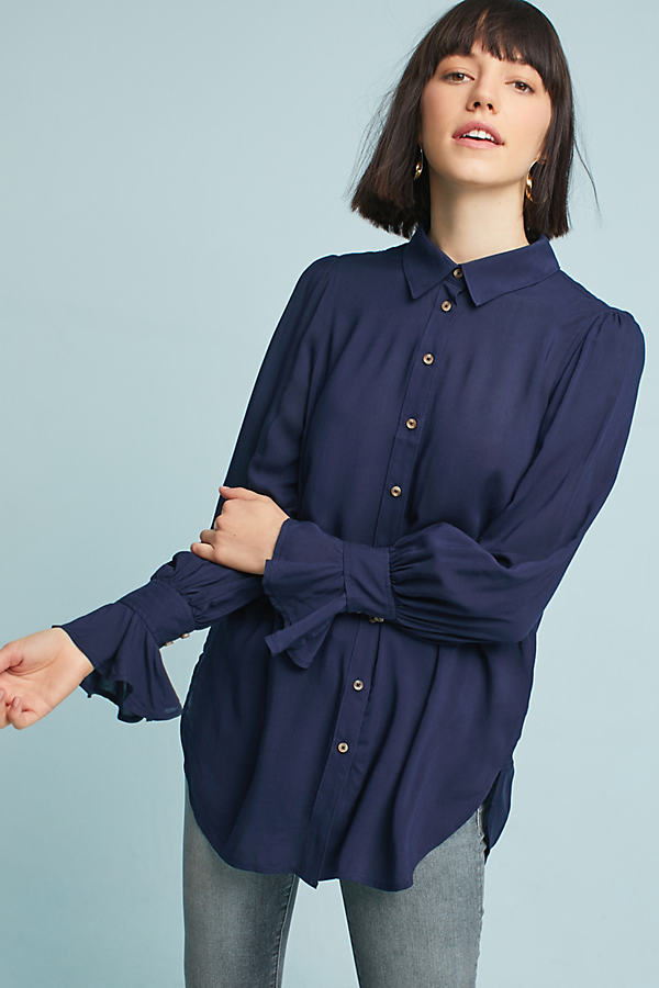 Desra Ruffled-Cuff Shirt - Navy, Size Uk 10