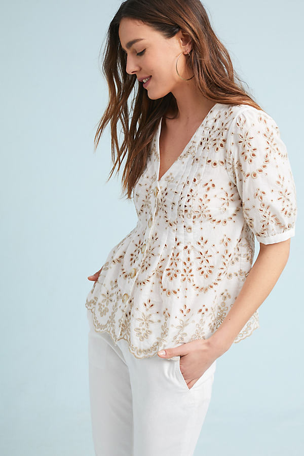 Medina Eyelet Top - White, Size Uk 10