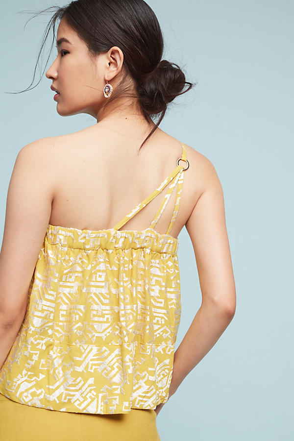 Slide View: 3: Anesu One-Shoulder Camisole, Yellow