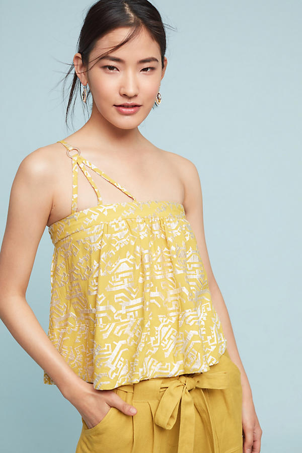 Slide View: 1: Anesu One-Shoulder Camisole, Yellow
