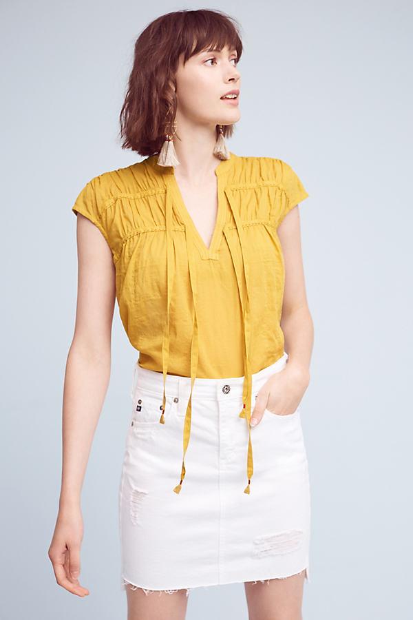 Renee Tie-Neck Top - Dark Yellow, Size Xs