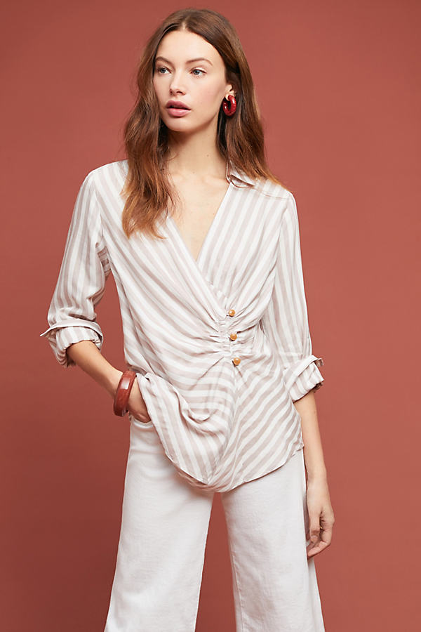 Marianna Striped-Wrap Blouse - Assorted, Size Uk 14