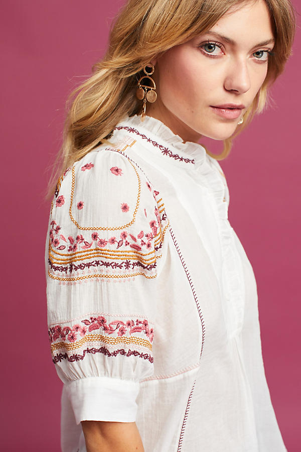Slide View: 2: Gwyneth Embroidered Blouse, Ivory
