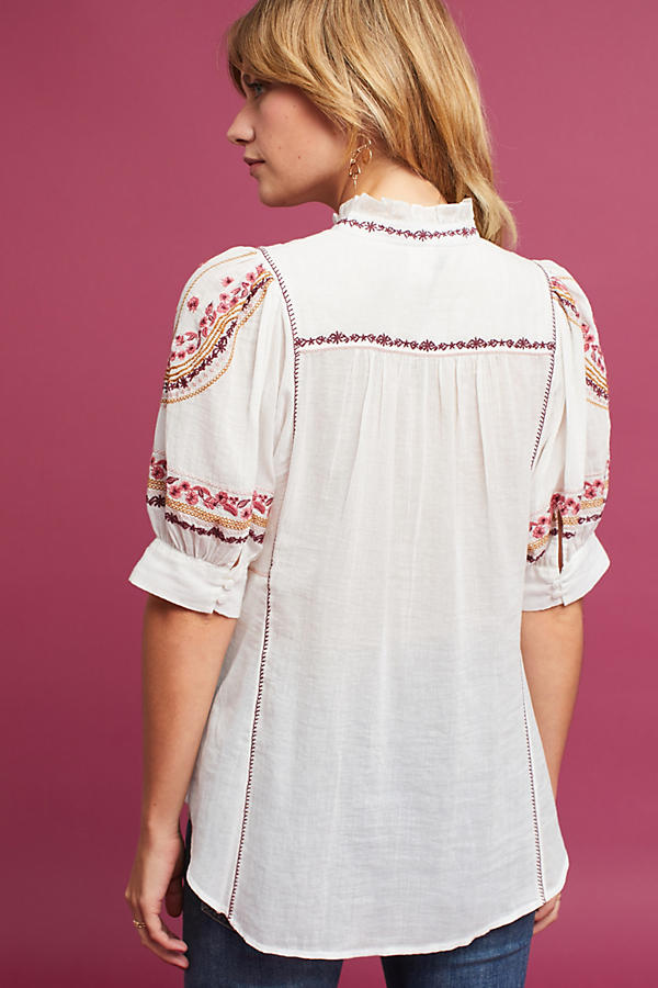 Slide View: 4: Gwyneth Embroidered Blouse, Ivory