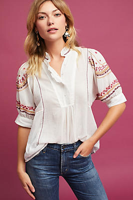Slide View: 1: Embroidered High-Neck Blouse
