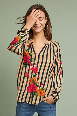 Slide View: 1: Embroidered & Striped Blouse