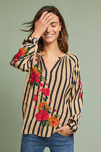 Embroidered & Striped Blouse