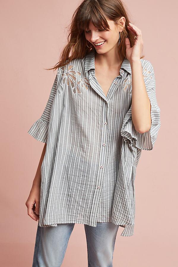 Didion Oversized Shirt, Grey - Grey Motif, Size Xs/s