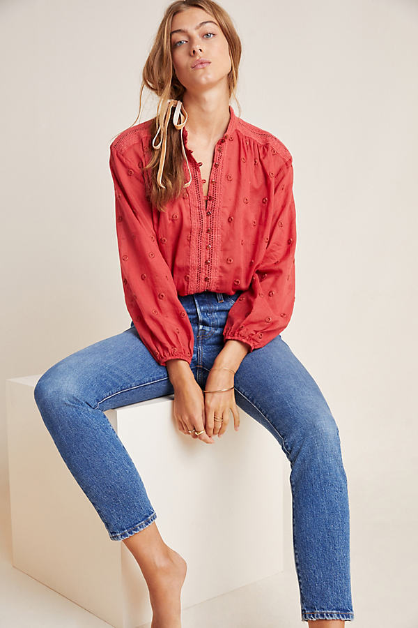 Auguste Embroidered Blouse - Red, Size Xl