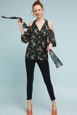 Shoshanna   Shoshanna Open-Shoulder Silk Blouse  -    BLACK MOTIF