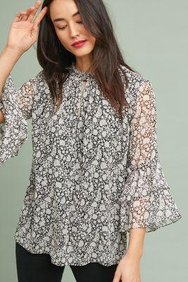 Shoshanna   Shoshanna Anaya Silk Blouse  -    BLACK MOTIF