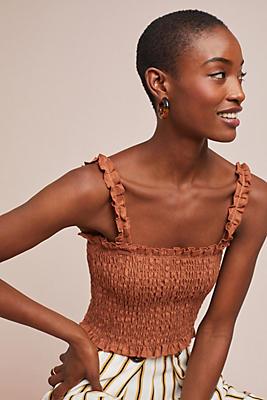 Slide View: 1: Faithfull Smocked Linen Top