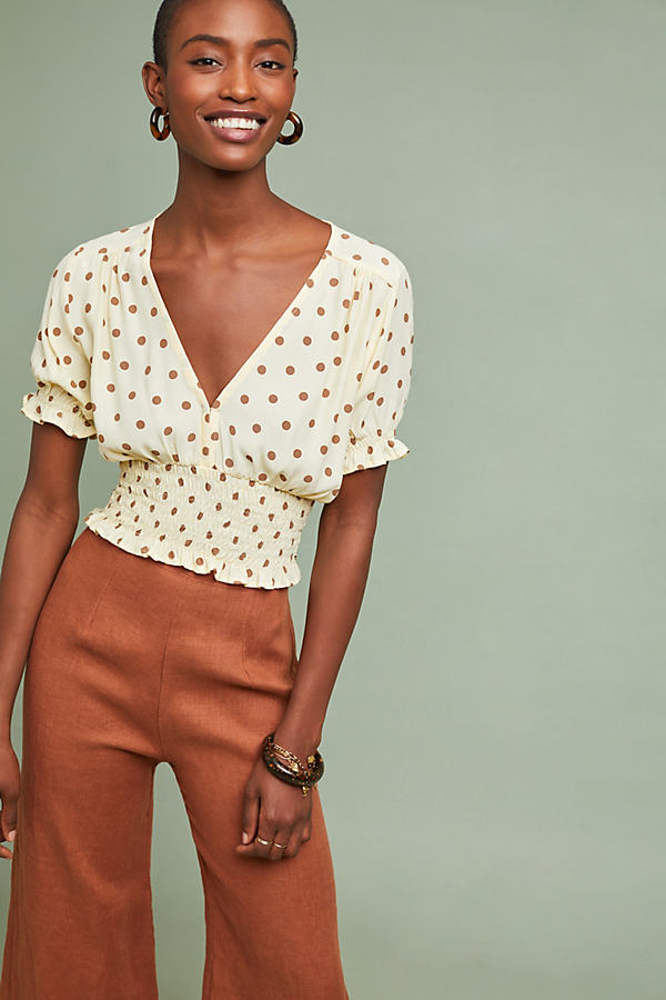 Faithfull Polka Dot-Printed Crop Top - Assorted, Size L