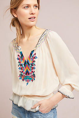 Slide View: 2: Marlow Embroidered Peasant Top