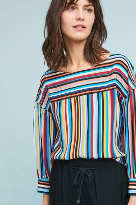 Tracy Reese   Tracy Reese Striped Silk Blouse  -    BLACK MOTIF