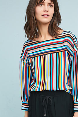 Slide View: 1: Tracy Reese Striped Silk Blouse