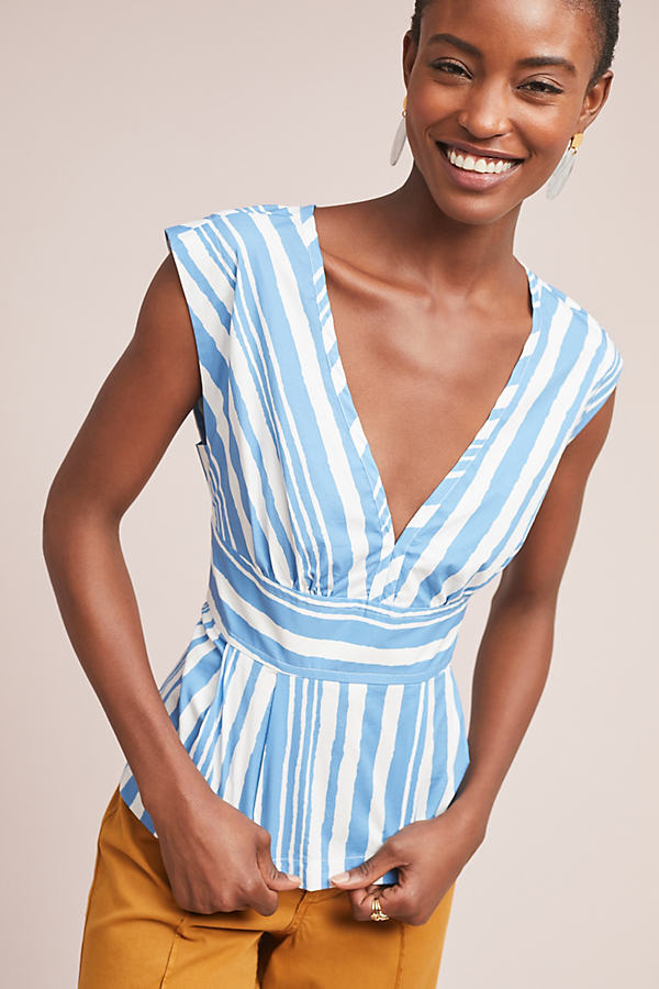 Tracy Reese Aimee Striped Blouse - Blue, Size L