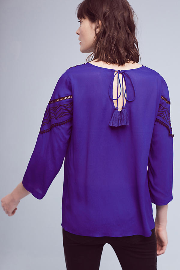 Slide View: 4: Stroke of Midnight Embroidered Blouse