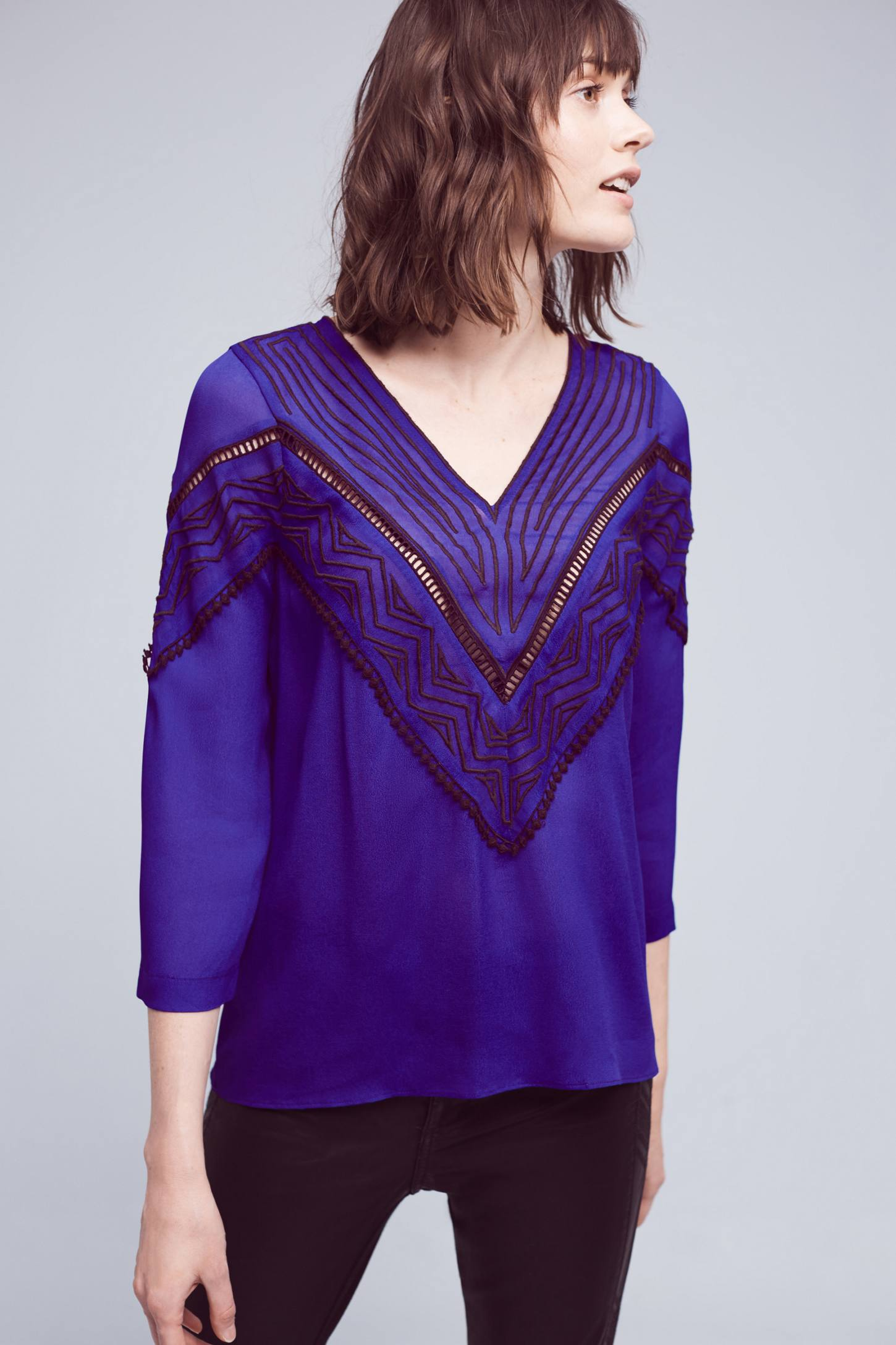 Slide View: 1: Stroke of Midnight Embroidered Blouse