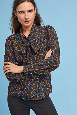 Slide View: 1: Tracy Reese Bow Silk Blouse