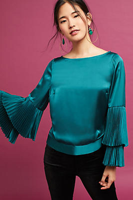 Slide View: 1: Pleated-Sleeve Blouse