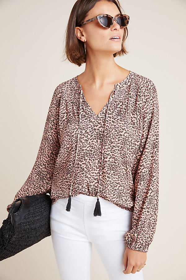 Kachel Leopard-Printed Blouse - Pink, Size Uk 12