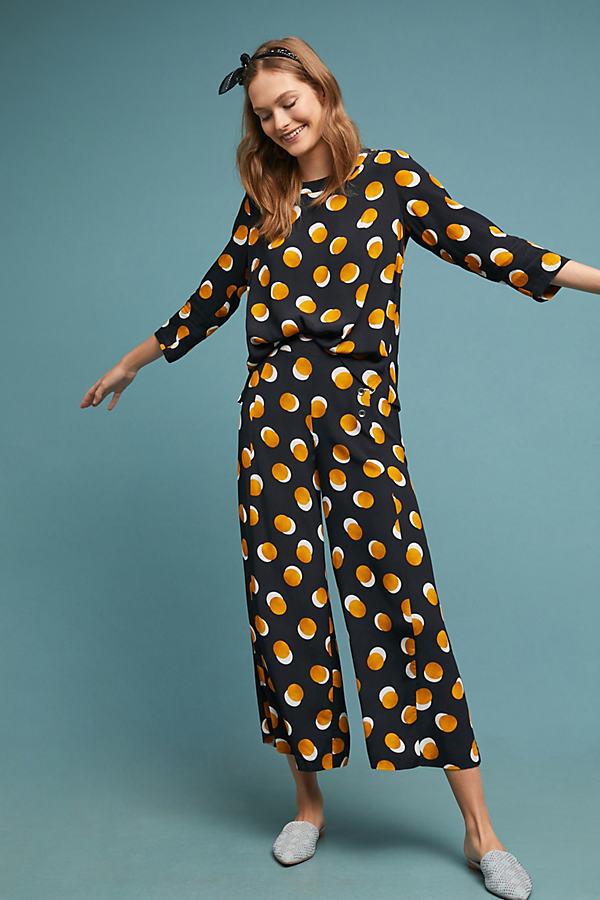 Kachel Lianna Spot-Print Top - Yellow, Size Uk 8