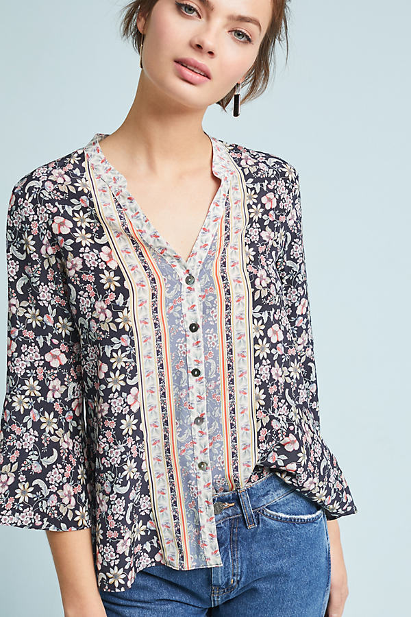 Carine Floral-Print Silk Shirt - Navy, Size Uk 8