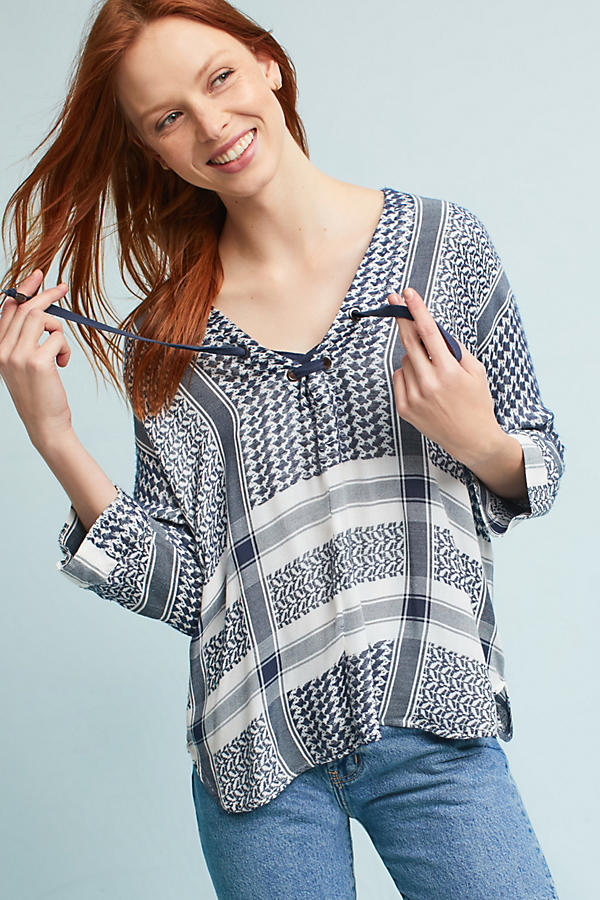 Slide View: 1: Indiana Printed Blouse, Blue