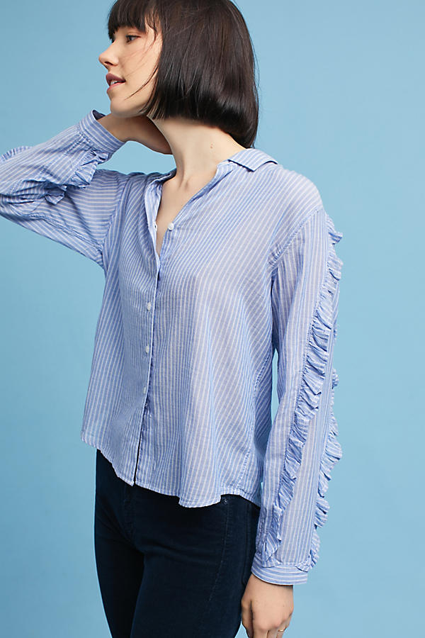 Slide View: 1: Rails Ruffled Buttondown
