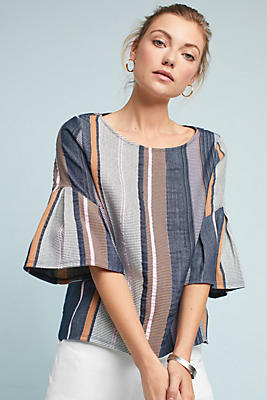 Slide View: 1: Striped Jacquard Top