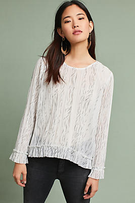 Slide View: 1: Pleated Ruffled-Hem Blouse