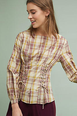 Slide View: 1: Gingham Corseted Top