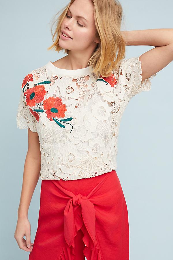 Poppy Lace Top - Beige, Size Xs