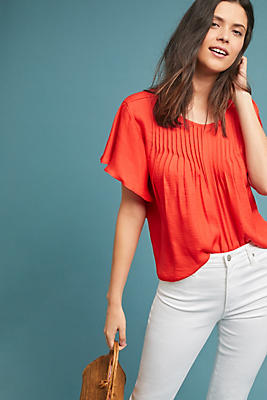 Slide View: 1: Giulia Flutter-Sleeve Blouse