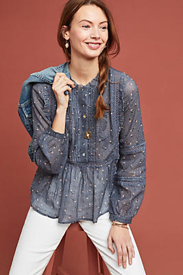 Slide View: 1: Lauren Embroidered Blouse