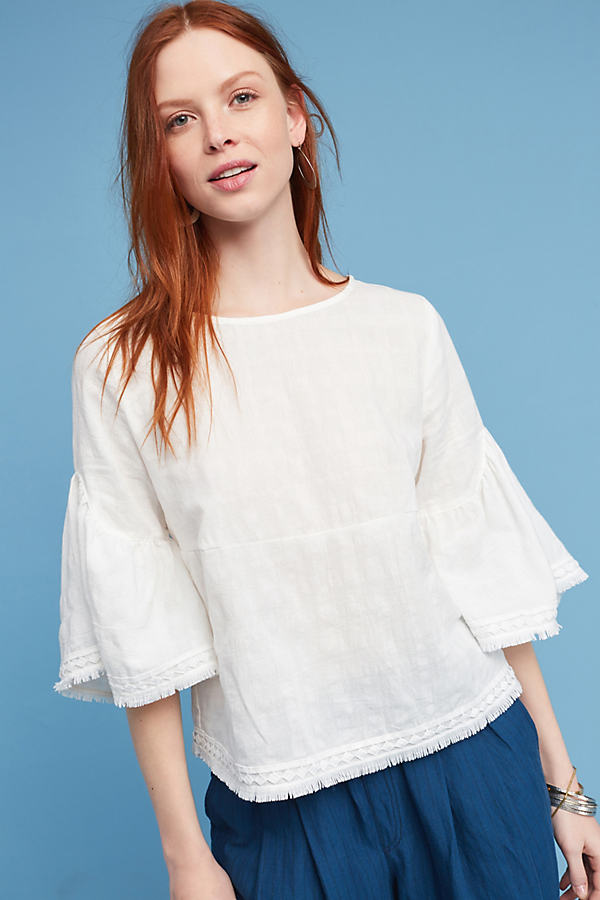 Evamarie Bell-Sleeve Top - White, Size S
