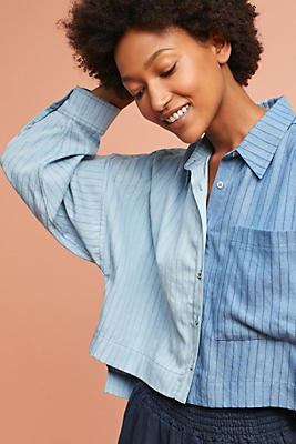 Slide View: 1: Mara Hoffman Azul Colorblock Buttondown