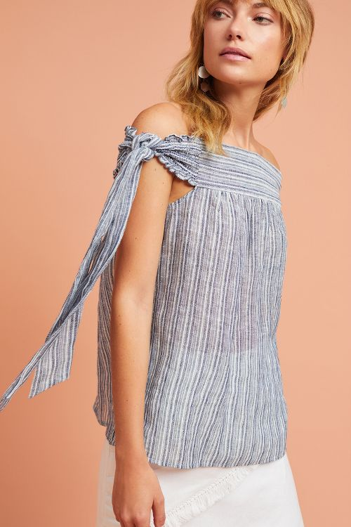 Yarn-Dyed Off-The-Shoulder Top