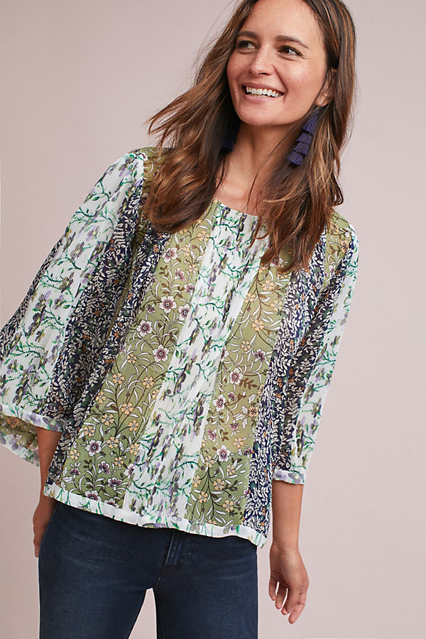 Hilde Patchwork Floral Blouse - Green Motif, Size Xs